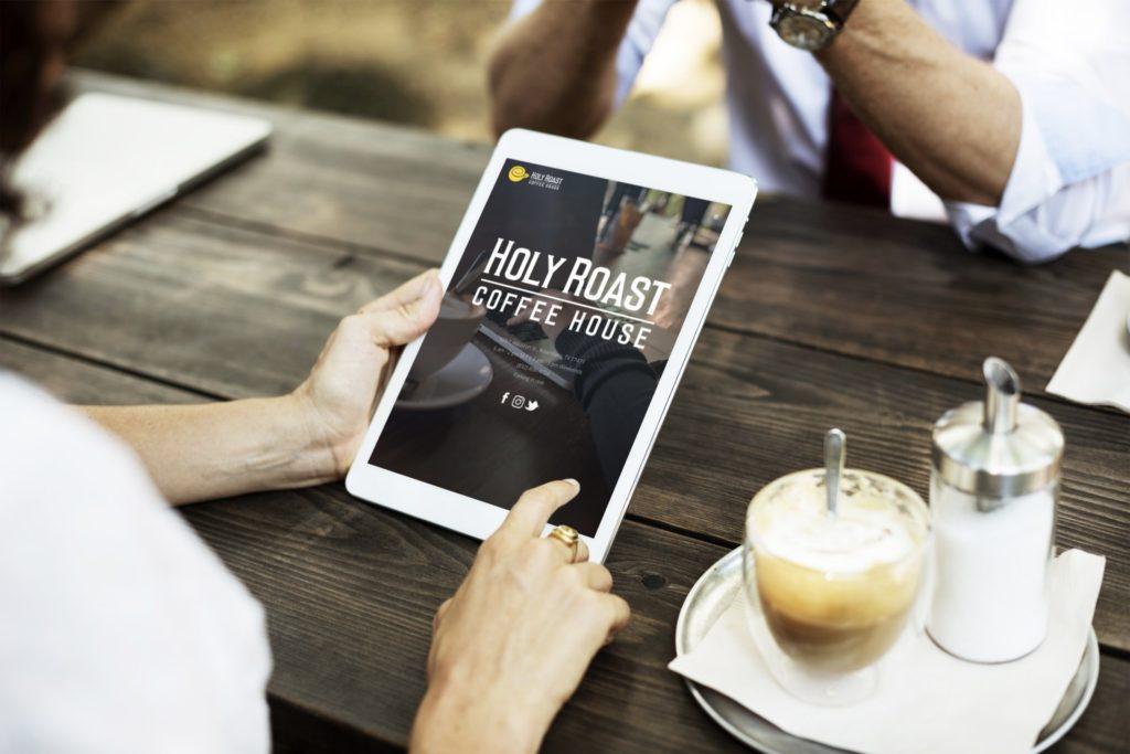 Holy Roast Coffee House ipad web design