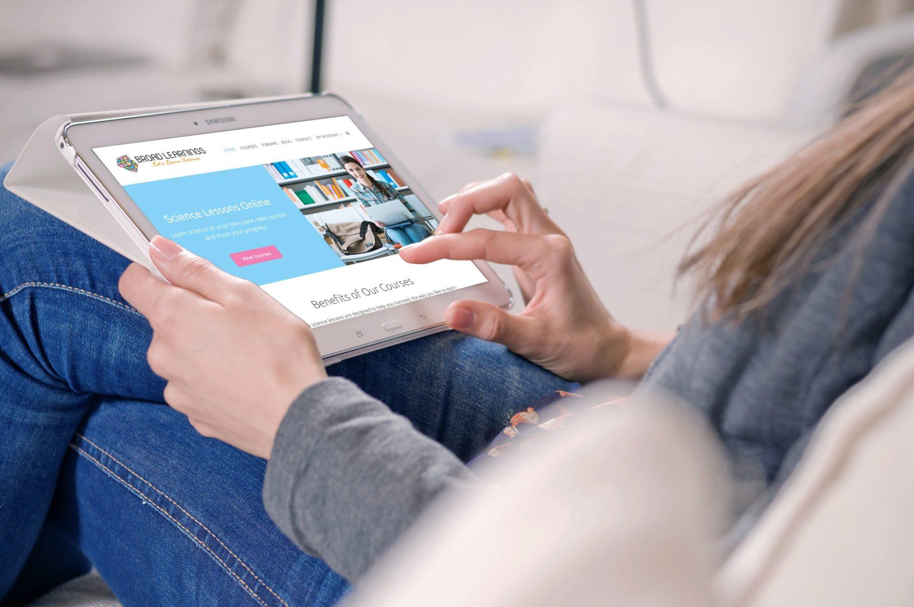 Girl online learning website design in Houston