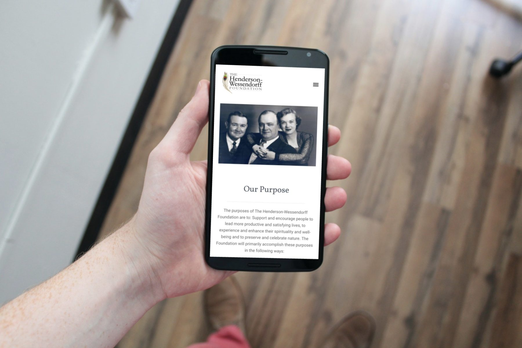 Henderson-Wessendorff Foundation Website Redesign Mobile