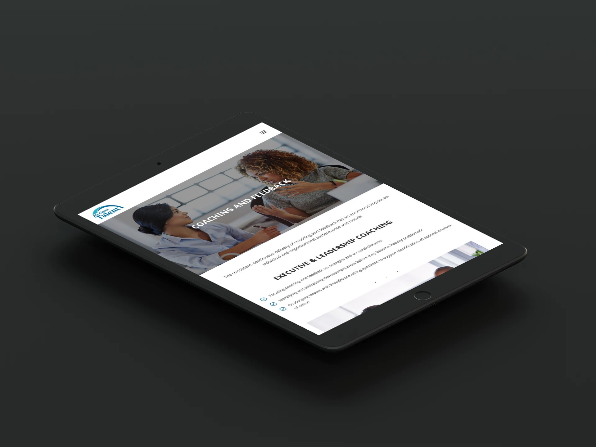 All About Talent Web Design Tablet