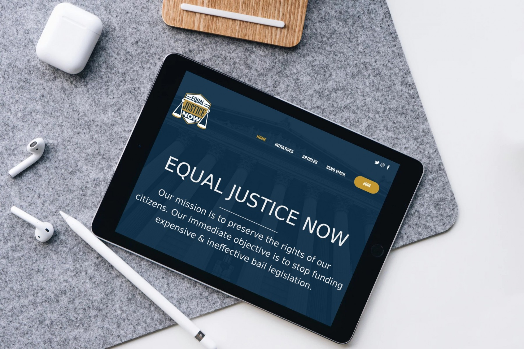 Equal Justice Now Website Design iPad