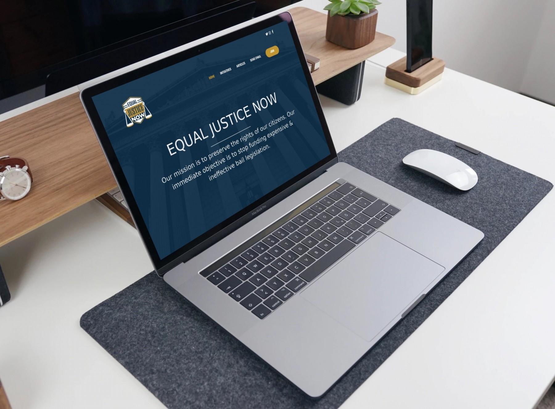 Equal Justice Now Website Design Laptop