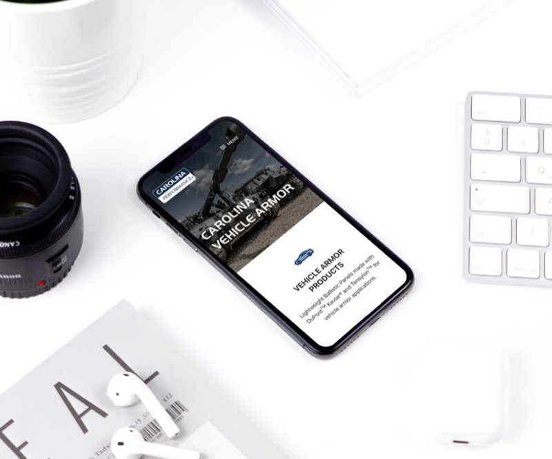 Carolina Performance Fabrics Website Design - Mobile