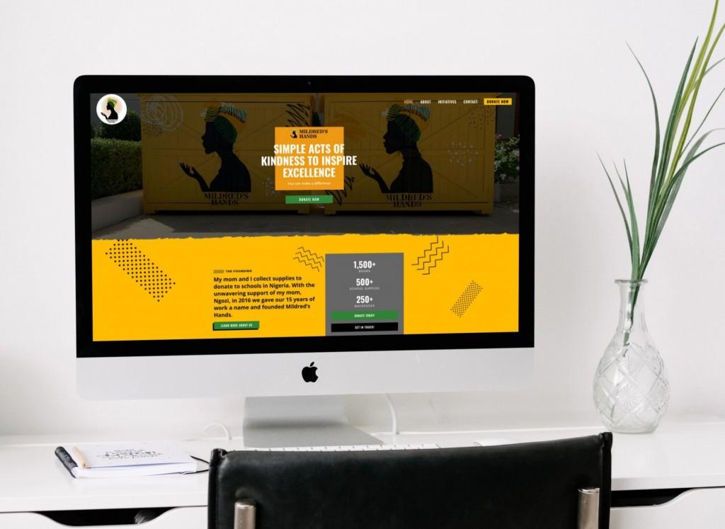 Mildred's Hands Website Design, Desktop