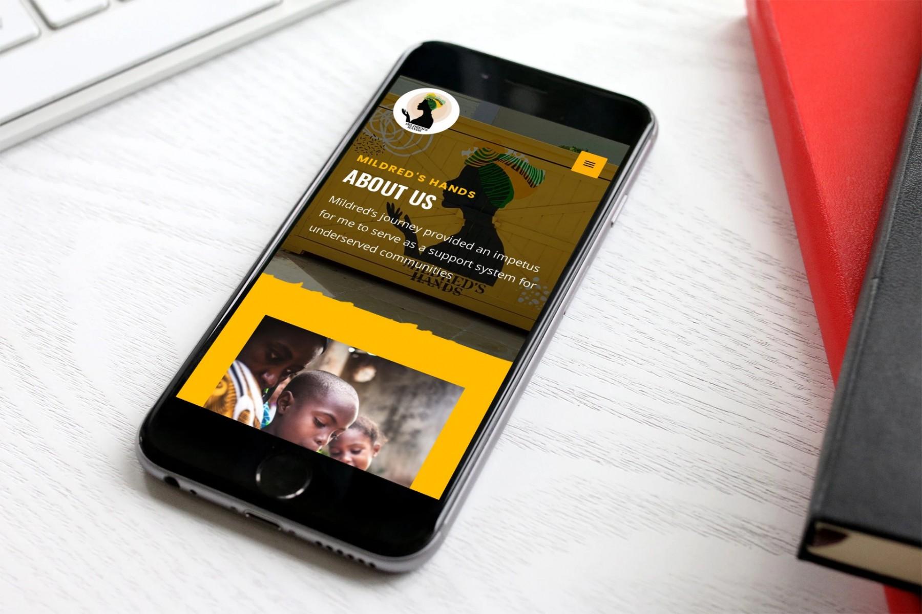 Mildred's Hands Website Design, Mobile
