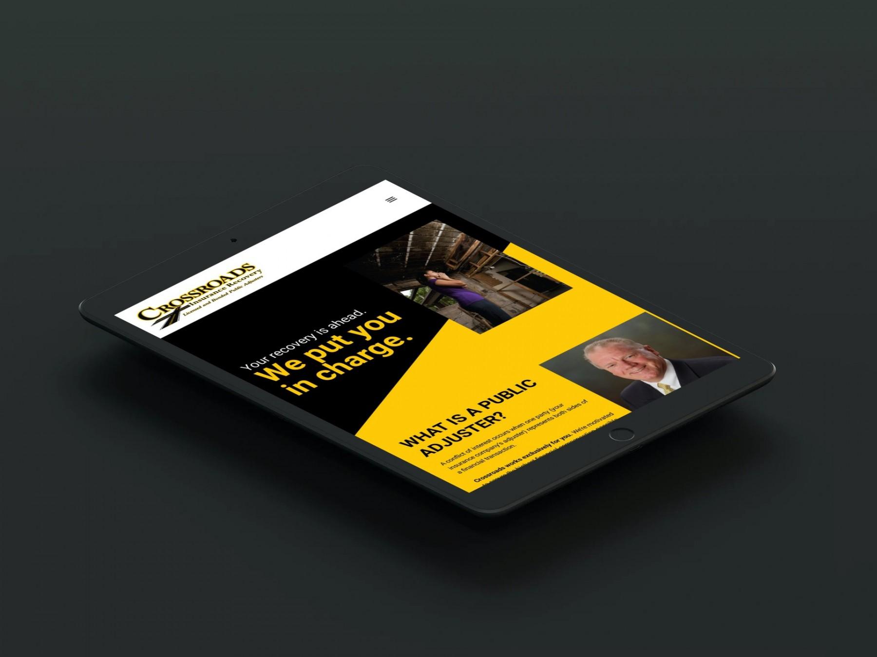 Crossroads Insurance Recovery Website Design - iPad