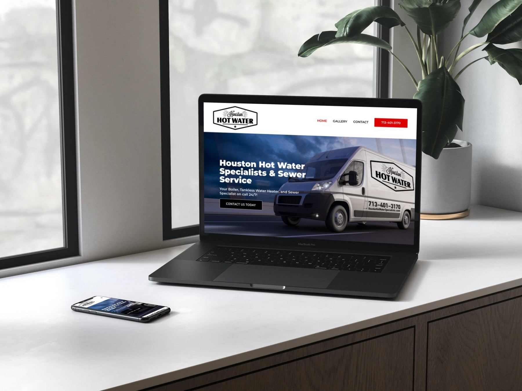 Houston Hot Water Specialists Website Design - MacBook Pro