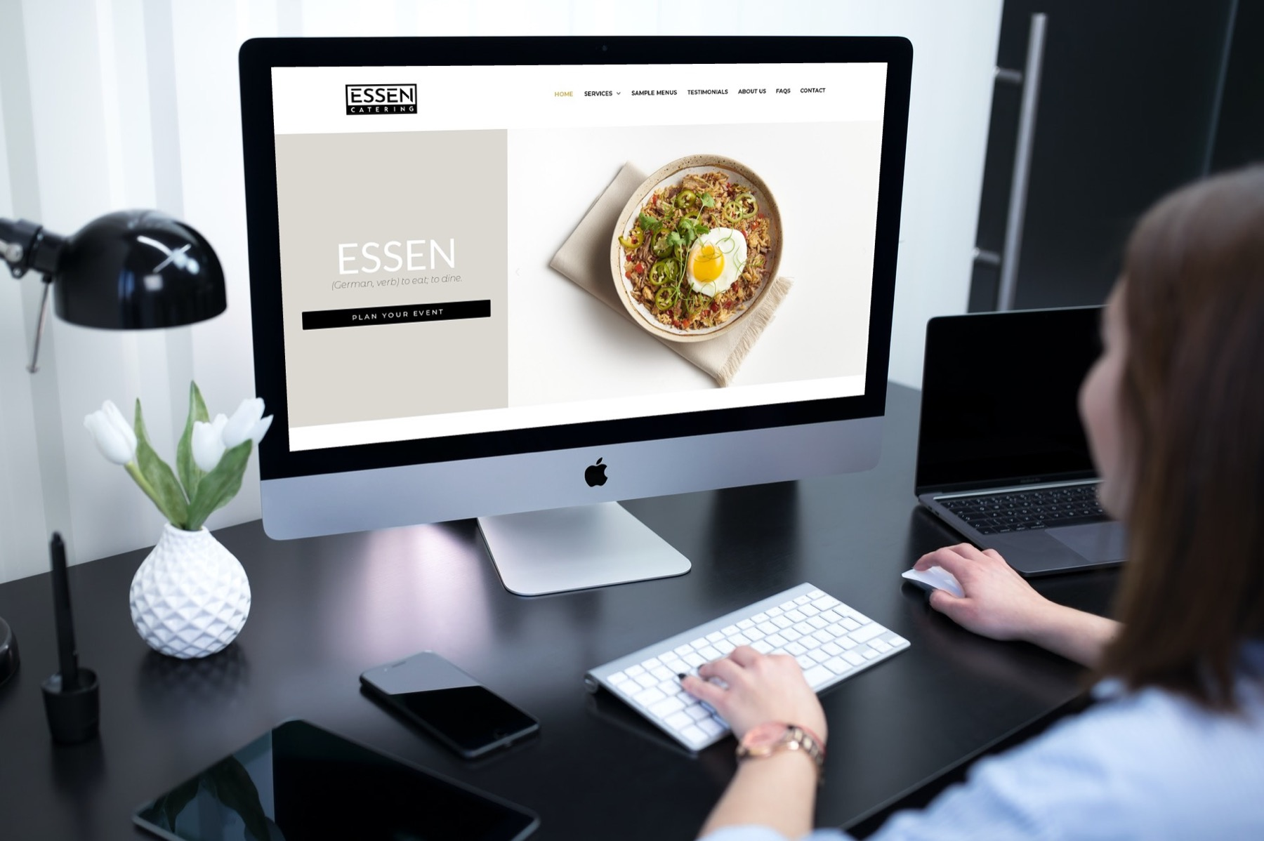 Website Design for Essen Catering, located in Houston Texas - Desktop